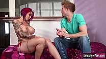 Busty tattooed Anna Bell Peaks is out of sunblock and her tattoo will be faded,Bill suggest her that cum can be a sunblock too and Anna wants to try it.They start kissing and Anna sucks Bills cock and in return he fucks Annas pussy until she squirts.