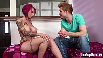 Busty tattooed Anna Bell Peaks is out of sunblock and her tattoo will be faded,Bill suggest her that cum can be a sunblock too and Anna wants to try it.They start kissing and Anna sucks Bills cock and in return he fucks Annas pussy until she squirts. Thumbnail