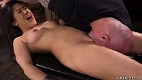 Little shackled brunette Asian slave Kendra Spa...