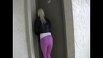 Blond girl pees her spandex leggings outside Thumbnail