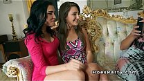 Horny amateur babe fucking at foursome party