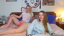 Blonde and brunette amateur lesbian teen camgir...