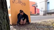 Watch village peeing ⁃ Amateur girl hides behind a wall to take a pee preview