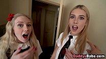 Slutty daughter & her bff sucking pervy dad's c...