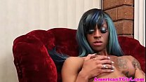 Watch Pretty ebony tgirl jerking off with passion preview