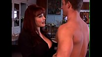 Red-haired mom in erotic lingerie rides a large...