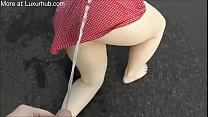 Fat pig girl get pissed on the street
