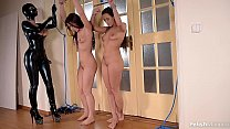 Latex Lucy Ass Fucks Mea Melone & Wendy Moon With a Strap-on's Thumb