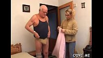 Playful blonde lady Natalie with firm natural tits engulfs cock Thumbnail