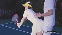 Tennis coach having fun with three besties on t...