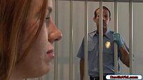 Redhead detainee seduces guard by showing her hairy pussy