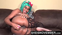 Hot Ebony Spinner Msnovember In Gorgeous Negligee Doing Pussy Anal Play And Solo Tits Fucking In Lingerie HD Sheisnovember صورة