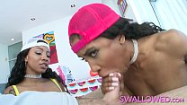 Two black chicks sucking a white cock and swallowing all of his cum Thumbnail