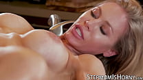 Blonde busty MILF fucked after blowjob