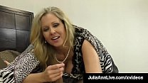 Watch Mature Milf Julia Ann finds a hidden throbbing cock in her bed, waiting for her warm mouth & expert hands to suck & stroke it until he dumps a load right between her tits! preview