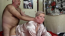 Depraved mature blonde bitch Aimee and her bald...