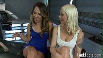 Lesbian babes_upside down for dildo machine Thumbnail