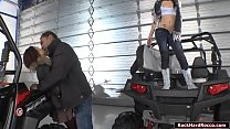 Watch Two slut teens are riding ATV motors with a black guy.After that,they throats his big black cock passionately.They go inside the garage and_he then licks their pussies,next is he fucks their tight pussies and asses one by one. preview