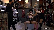 Gorgeous bondage slut tied in rope gets pussy fisted and gangbang fucked in public Thumbnail