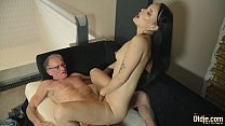 Old man cums in young girlfriends mouth she lik...