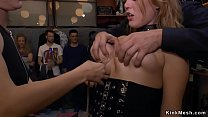 European blonde slave gets mouth banged by two ...