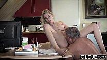 Teen seduces her stepdad for a hardcore sex night