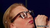 Watch Alluring kitten loves a deep blowjob and quite a bit of sperm on her face preview