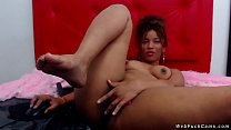 Natural busty ebony amateur camgirl in redl ing...