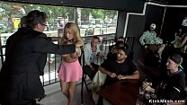Big boobs blonde dragged in public European bar...
