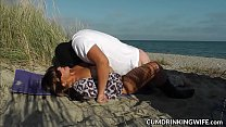 Wife fucked by plenty of strangers on public beaches صورة