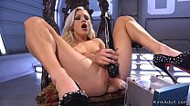 Solo beauty in high heels in chair with spreaded legs shoves fucking machine into pussy Thumbnail