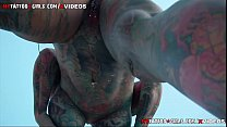 Watch Heavy Tattooed Milf hanging out by the pool preview