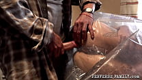 PERVERSE FAMILY Girl Wrapped To Plastic