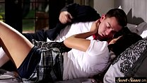 Brother and Sister in School uniform gets Naughty in Bed for First Time Thumbnail