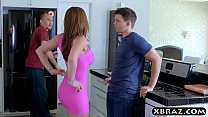 Watch Wife cheats on husband with his friend in the kitchen preview