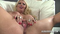 Busty blonde milf has her holes stretched wide by a big black dick صورة