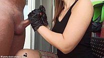 Gloved Student Passionate Handjob Dick after Cl...
