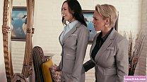 Lesbian boss flirts with her secretary and lick...