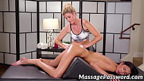 Masseuse MILF scissoring with hot client