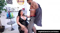 Thick Miami Mamma, Angelina Castro whips out her massive Cuban Boobs & takes a huge ebony cock between her 2 mega melons! Thumbnail