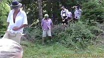 wild lederhosen gangbang party in nature's Thumb