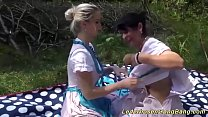 wild lederhosen gangbang party in nature Thumbnail