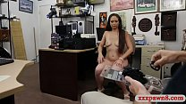 Watch Beautiful amateur brunette woman gets her shaved muff screwed deep by pawn dude in his office preview