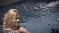 Tiny blonde model uses a pool that is definitel...