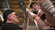 h. From A Sex Swing Tied In Ropes This Brunette...