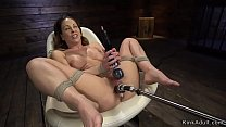 Watch Big tits brunette mature lady laid on belly fucked by machine and vibrated by master preview