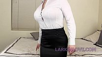 Long Tongue Brunette Mom Gives Insane Blowjob and Deepthroat Larkin Love's Thumb