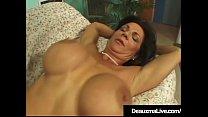 Busty Brunette Cougar Deauxma crams her cornhol...