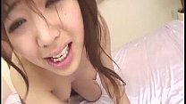 Aiuchi on her knees gobbling up two hard dicks that are shoved into her mouth صورة