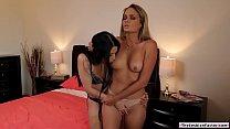 Blonde lesbian rubs her pussy on her brunette p...